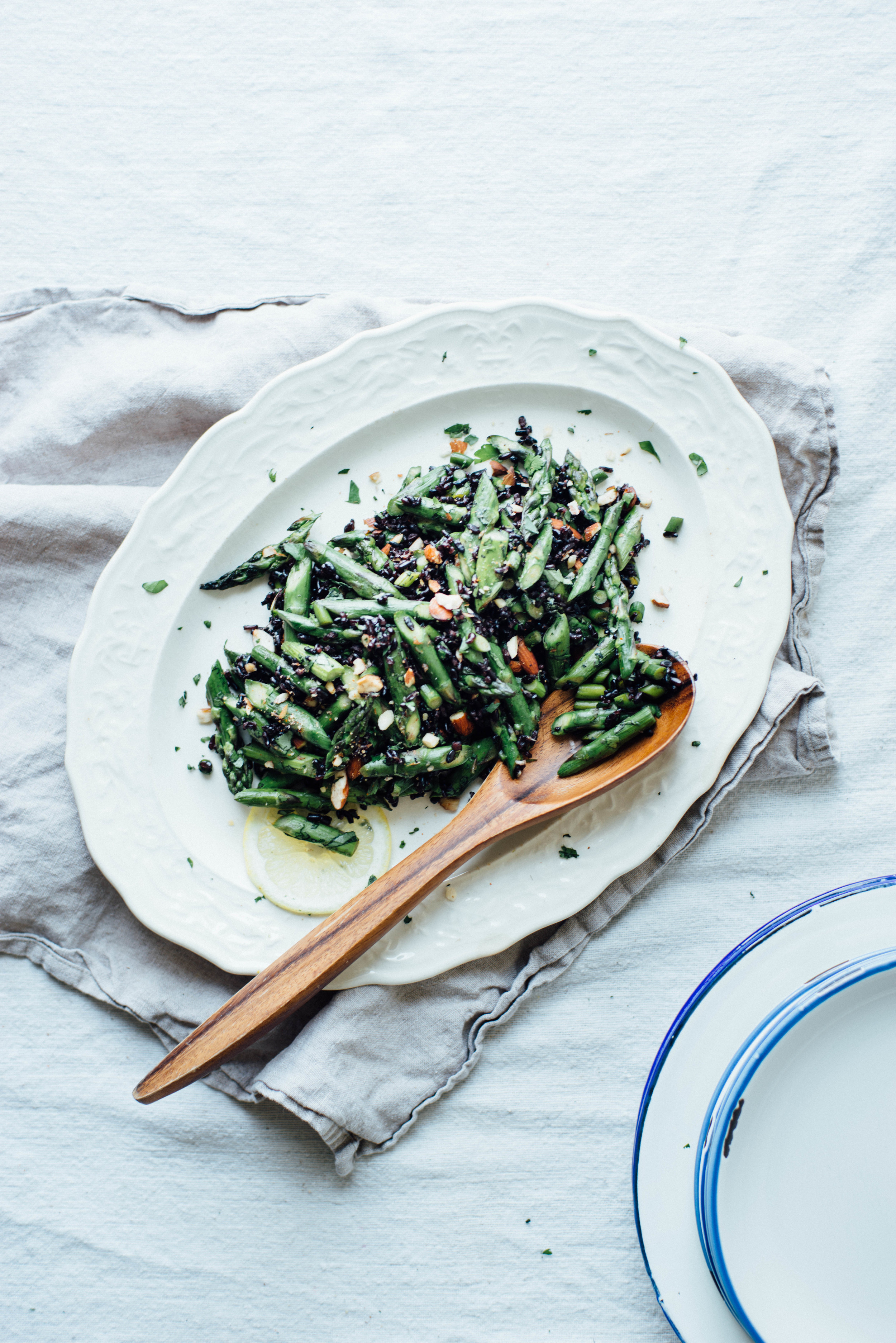 cilantro black rice w/ roasted garlic scapes + asparagus   dolly and oatmeal