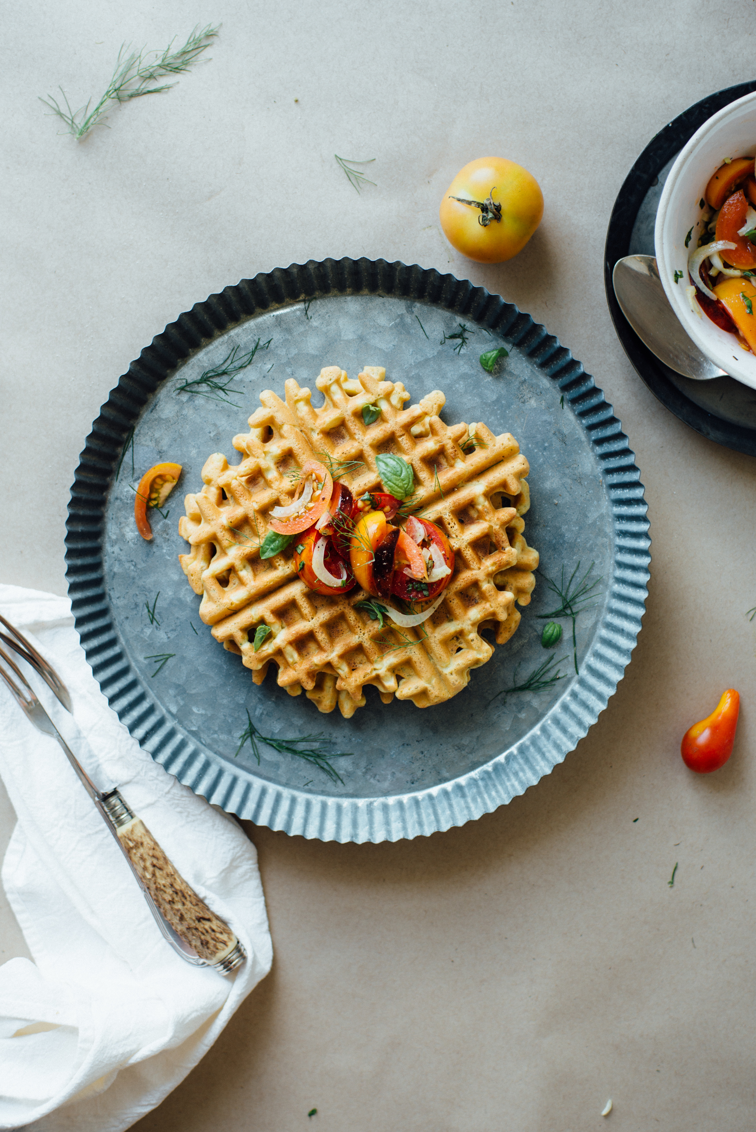 zucchini-basil chickpea waffles W/ tomato + shaved fennel salad | dolly and oatmeal