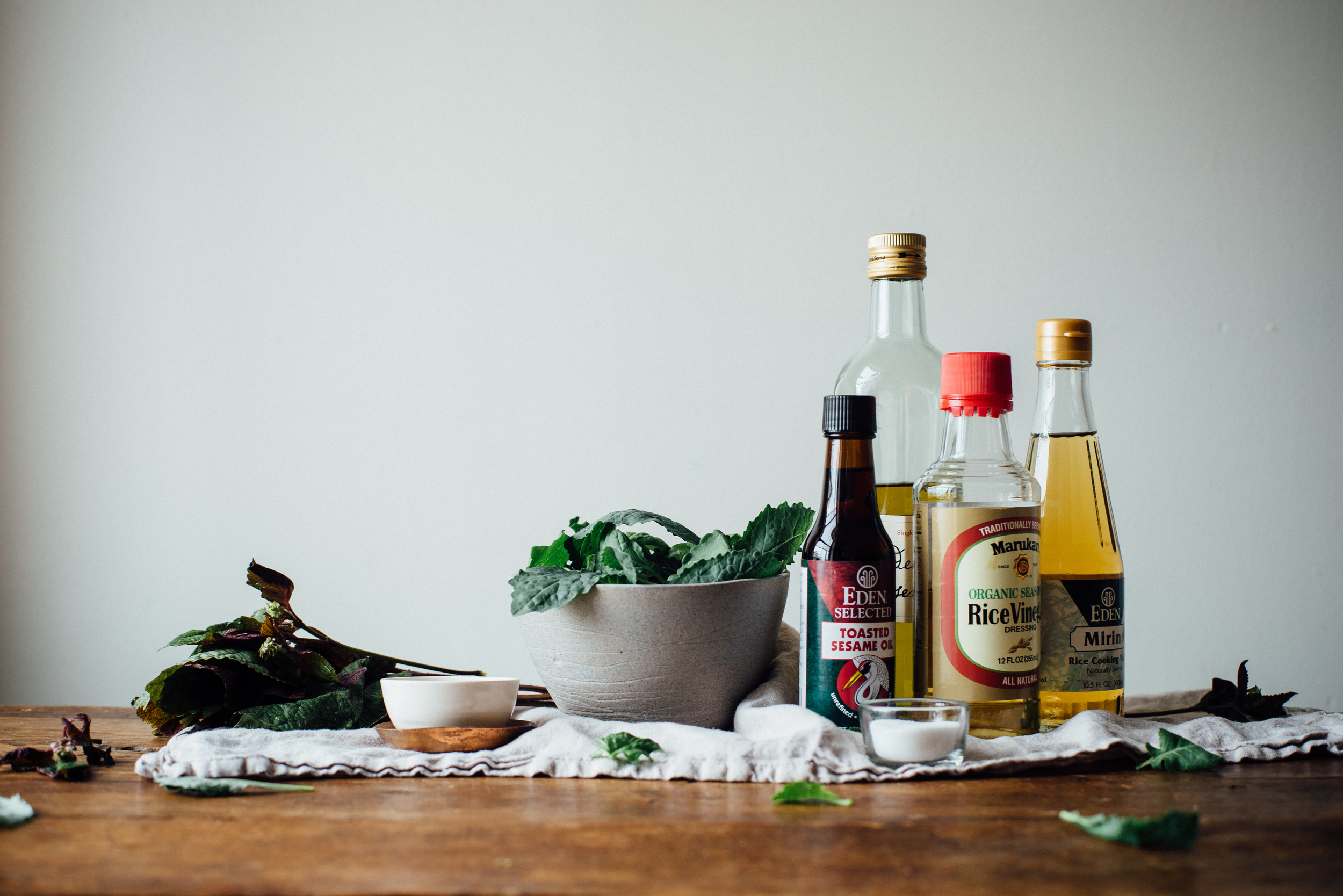 warm sautéed grapes, autumn kale + edamame salad w/ shiso vinaigrette