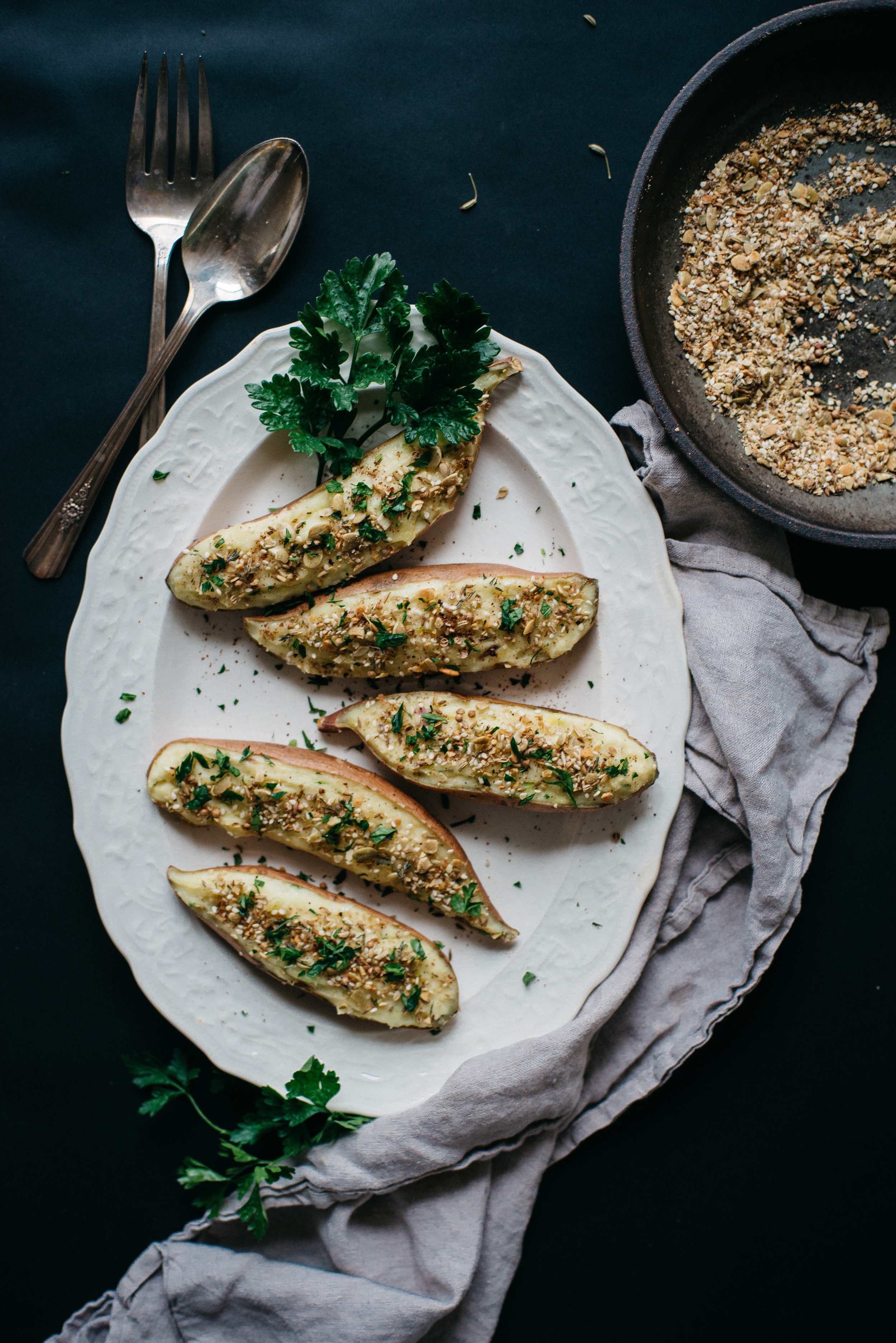 twice baked sweet potatoes w/ pumpkin seed dukkah | dolly and oatmeal