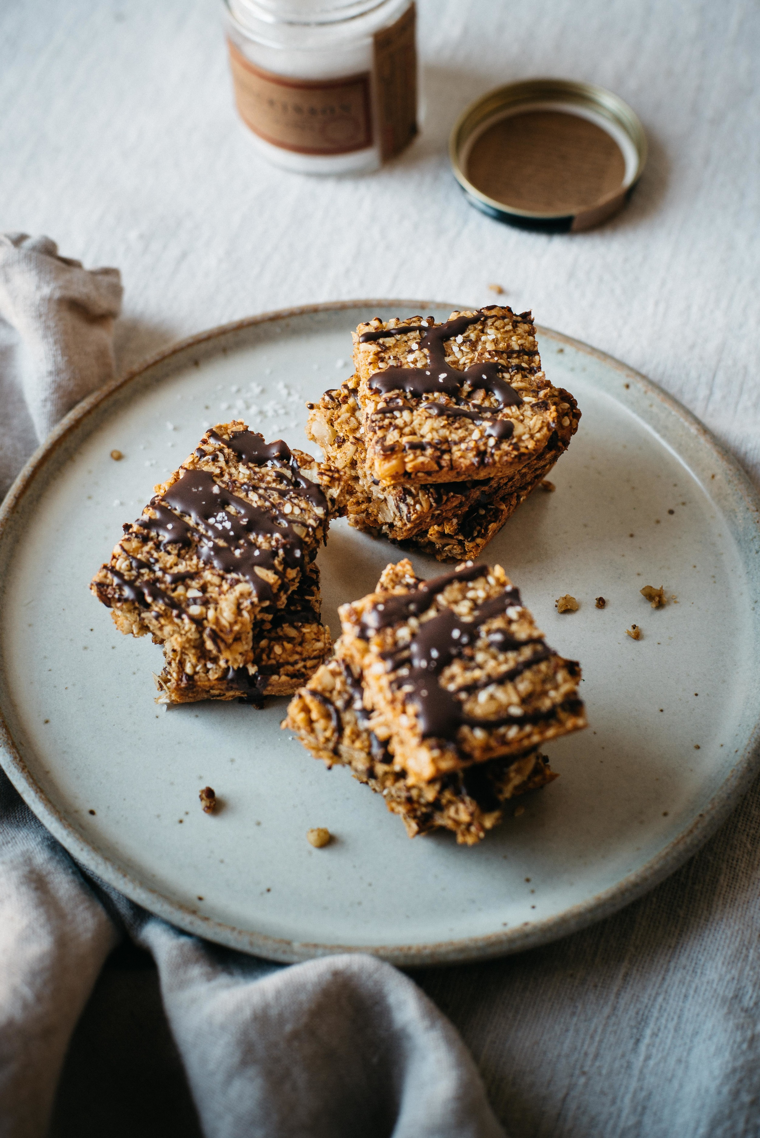 butternut squash squares w/ chocolate drizzle + sea salt | dolly and oatmeal