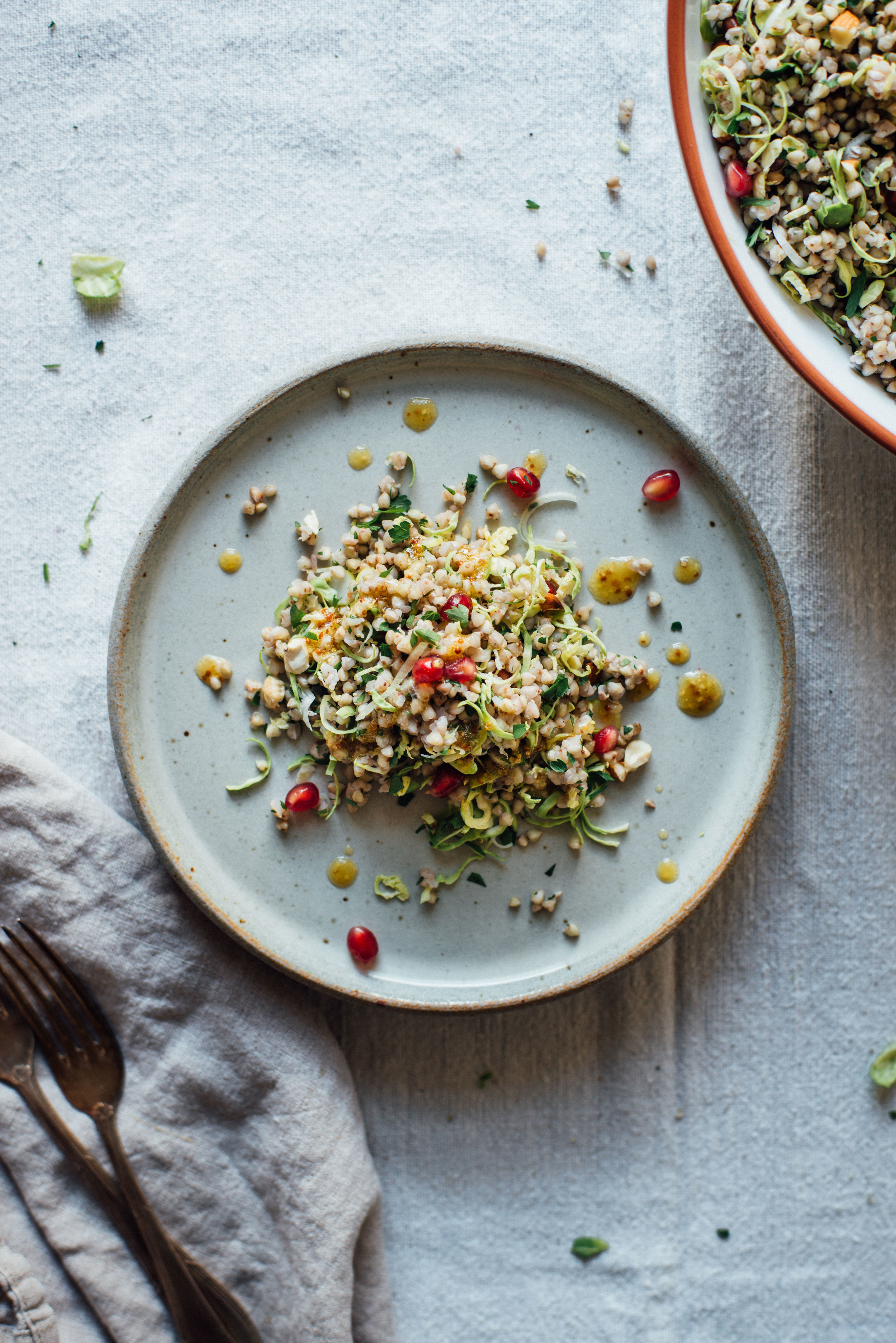 winter buckwheat + shaved brussels sprout bowl | dolly and oatmeal