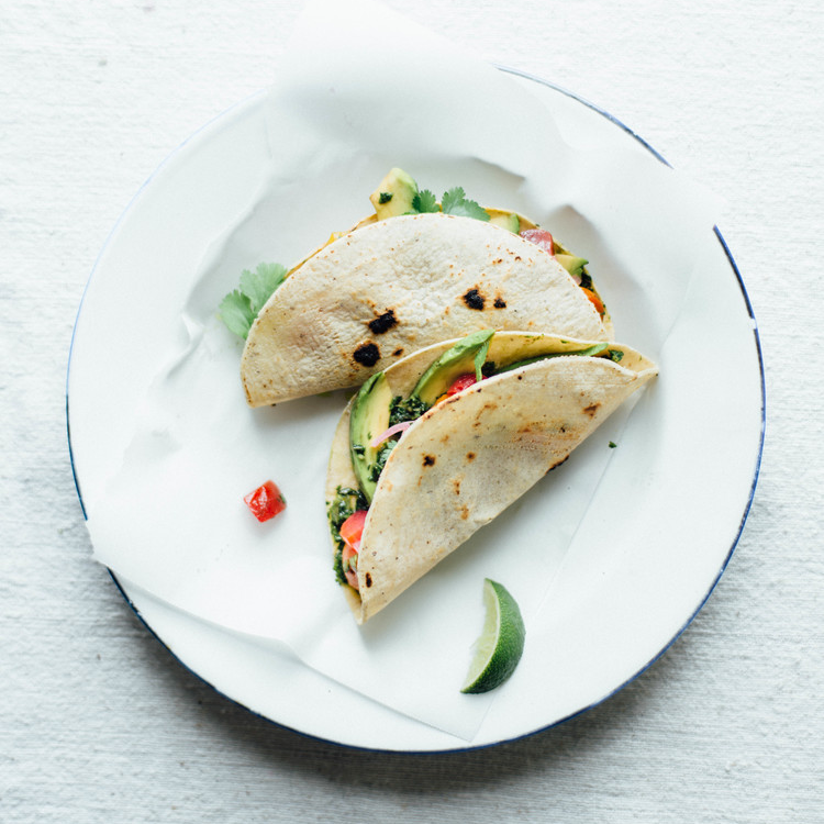 summer beet tacos w/ beet green salsa verde