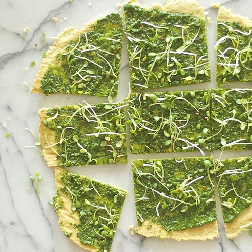 flatbread w/ herb-spinach pesto + sprouts