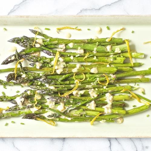 asparagus w/ shallot vinaigrette + crisp lemon zest