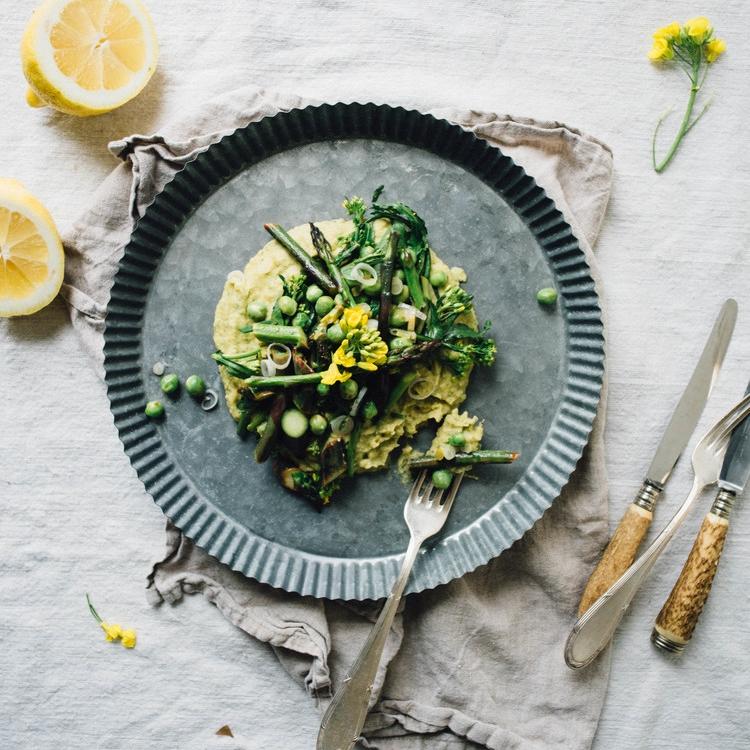 asparagus, pea + broccoli rabe saute over a chive + chickpea mash