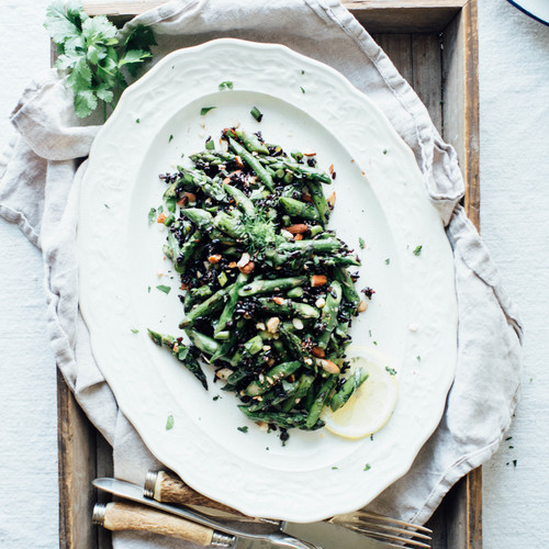 cilantro black rice w/ roasted garlic scapes + asparagus