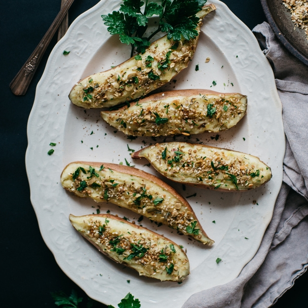 twice baked sweet potatoes w/ pumpkin seed dukkah