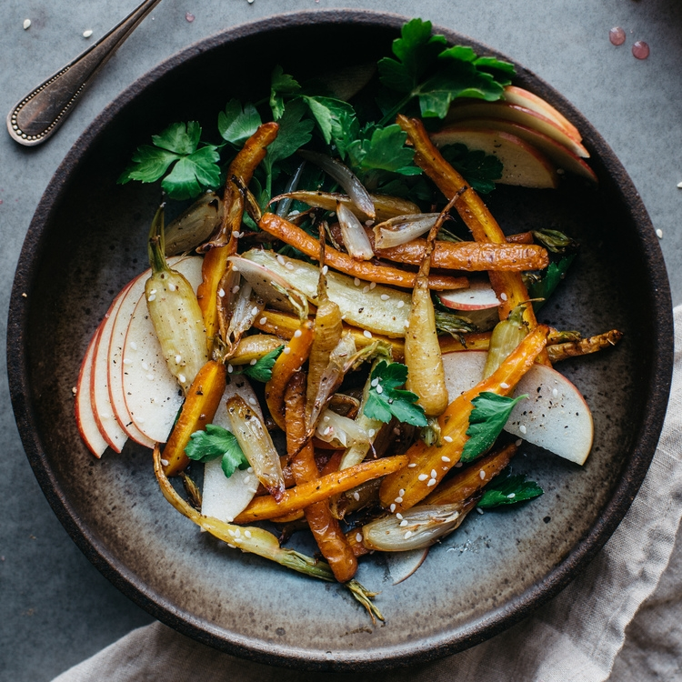 fennel roasted carrots + shallots