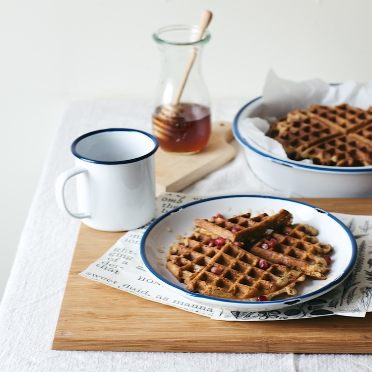 overnight oat waffles w/ pomegranate honey