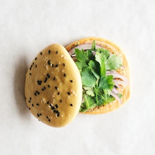 mung bean-leek burgers w/ shiso + chili mayo