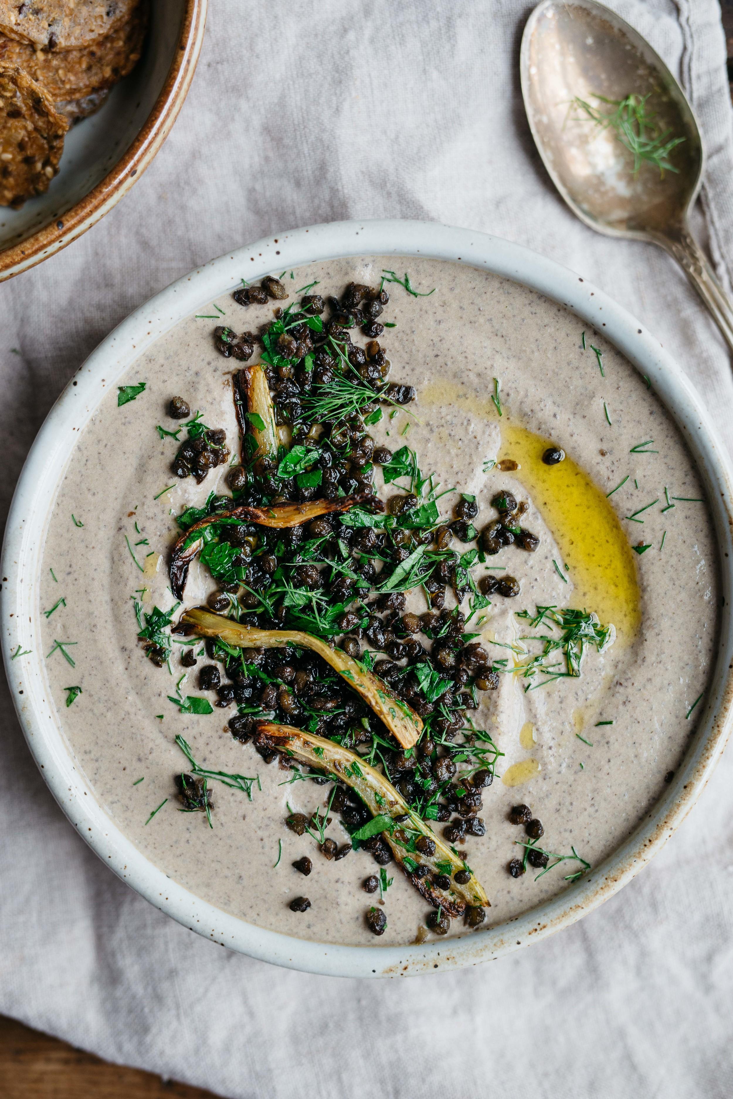 Black beluga lentil hummus w/ roasted fennel + garlic | dolly and oatmeal