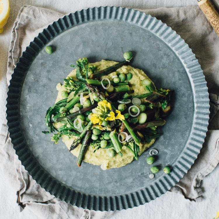 asparagus, pea + broccoli rabe saute over chive-chickpea mash