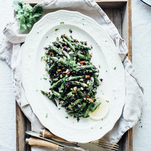 cilantro black rice, w/ roasted asparagus + garlic scapes