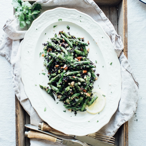 cilantro black rice w/ roasted garlic scapes & asparagus