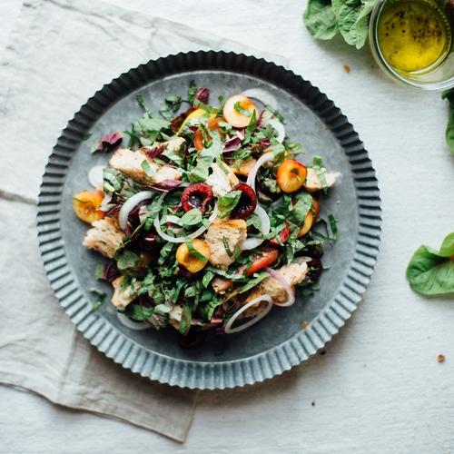 a midsummer cherry and amaranth panzanella salad