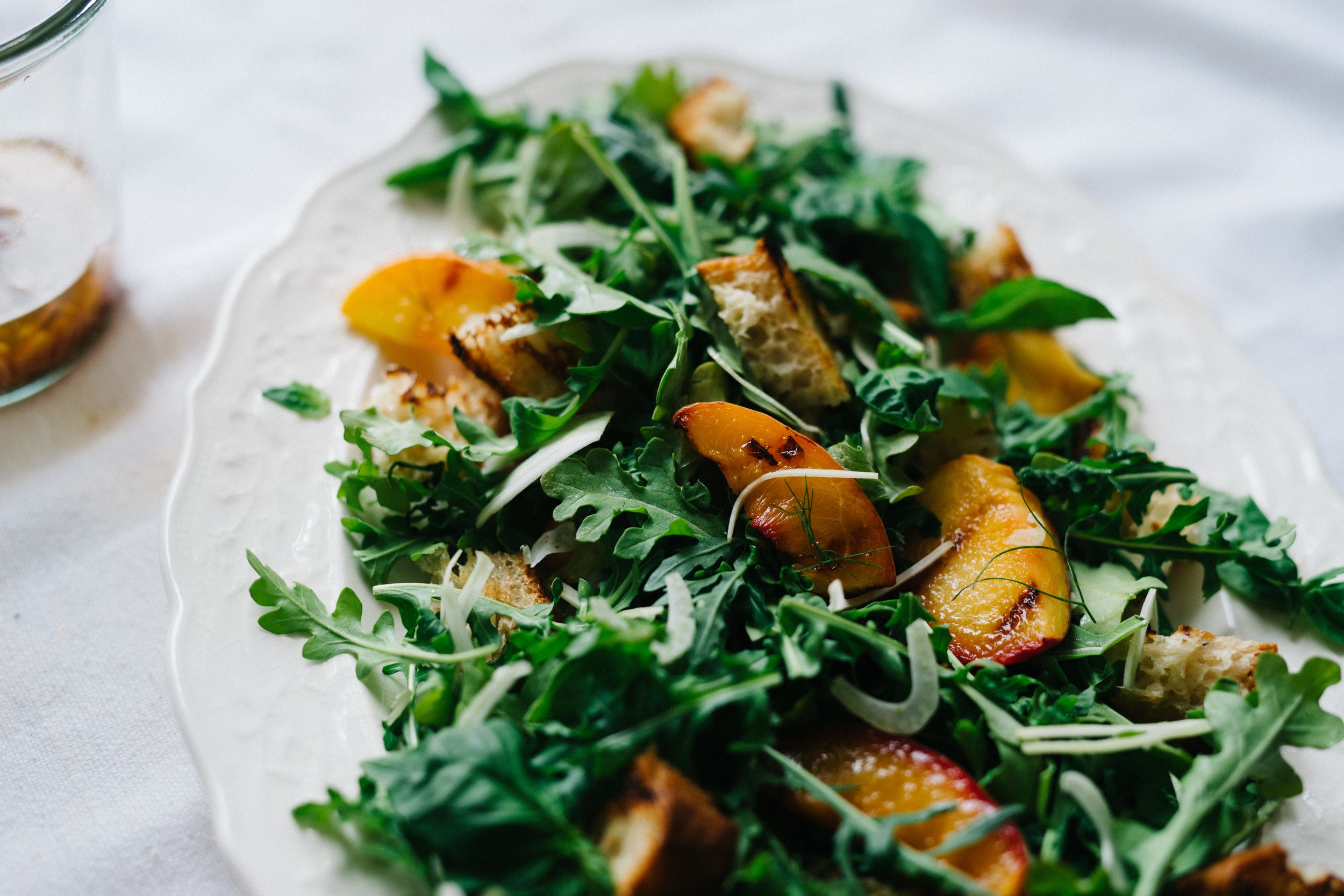 Grilled Panzanella Salad w/ Peaches & Fennel | dolly and oatmeal