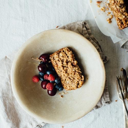 summer squash, banana-oat loaf w/ almond streusel