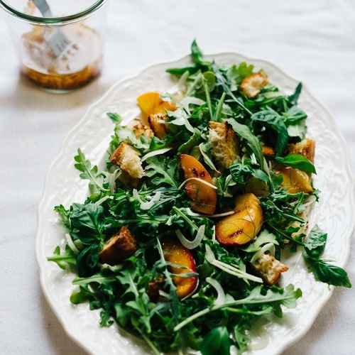 grilled panzanella salad w/ peaches & fennel