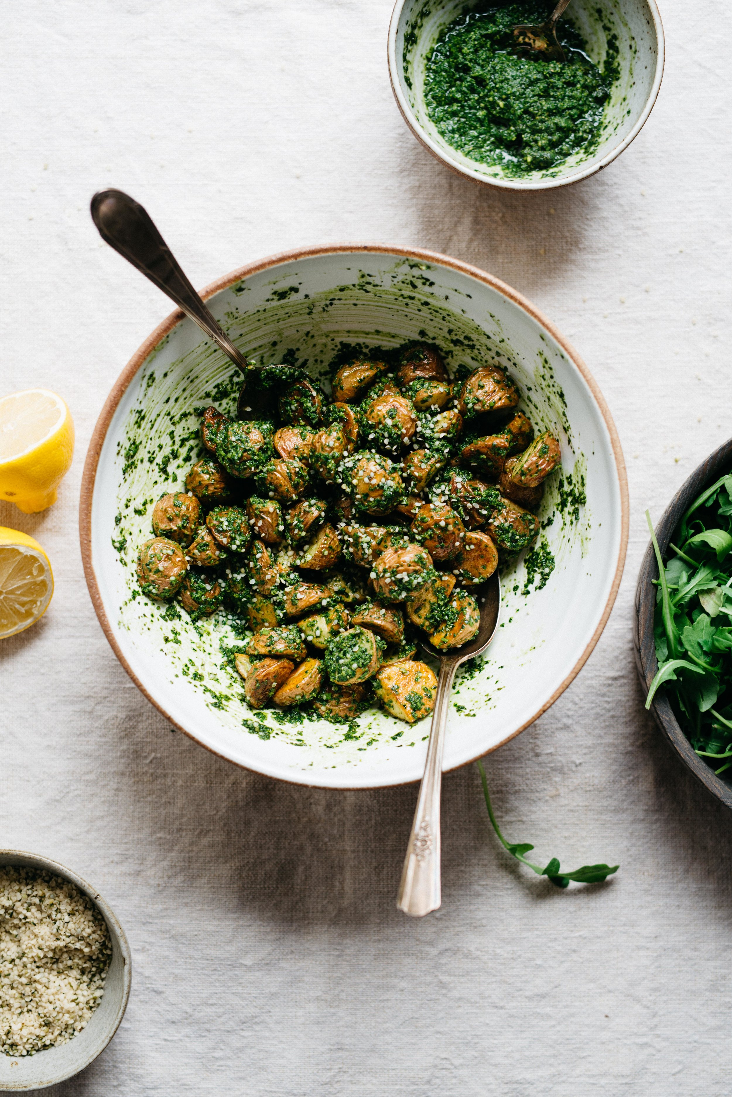 Roasted Garlic Basil Pesto Potatoes with Arugula   dolly and oatmeal #vegan