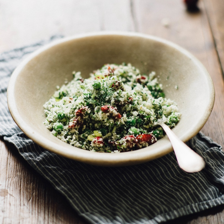 raw cauliflower couscous w/ cherries & sumac dressing