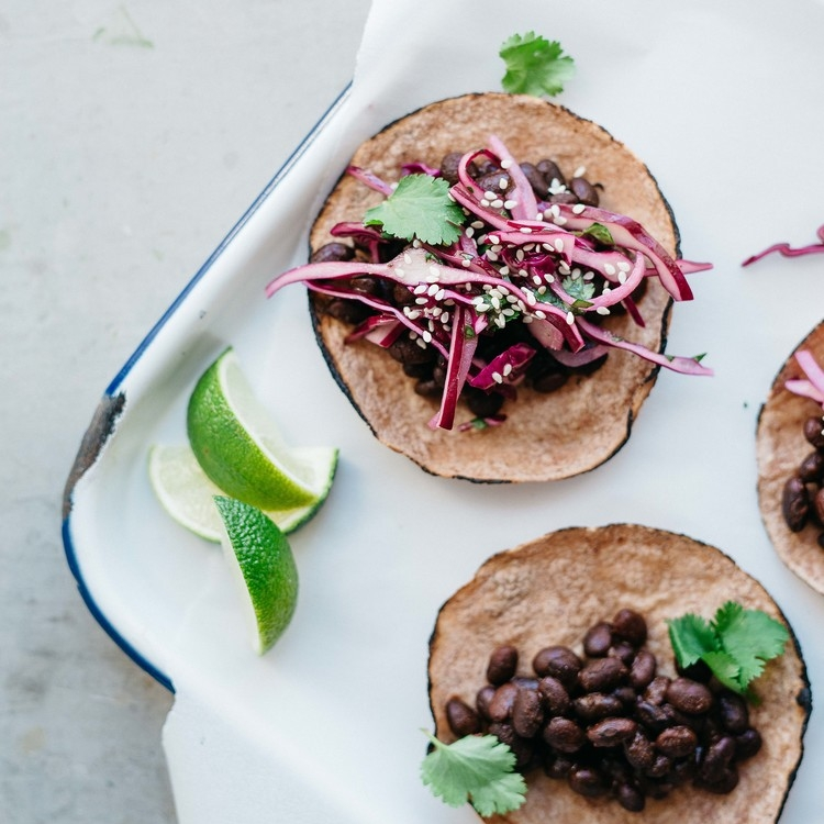 mole black bean tacos w/ cabbage & cilantro slaw