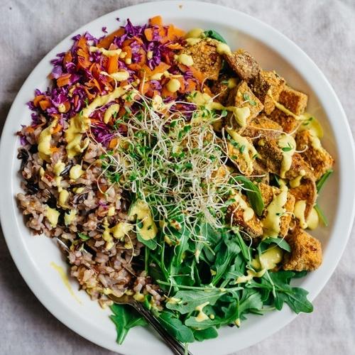 crunchy sweet potato lunch bowl w/ golden dressing