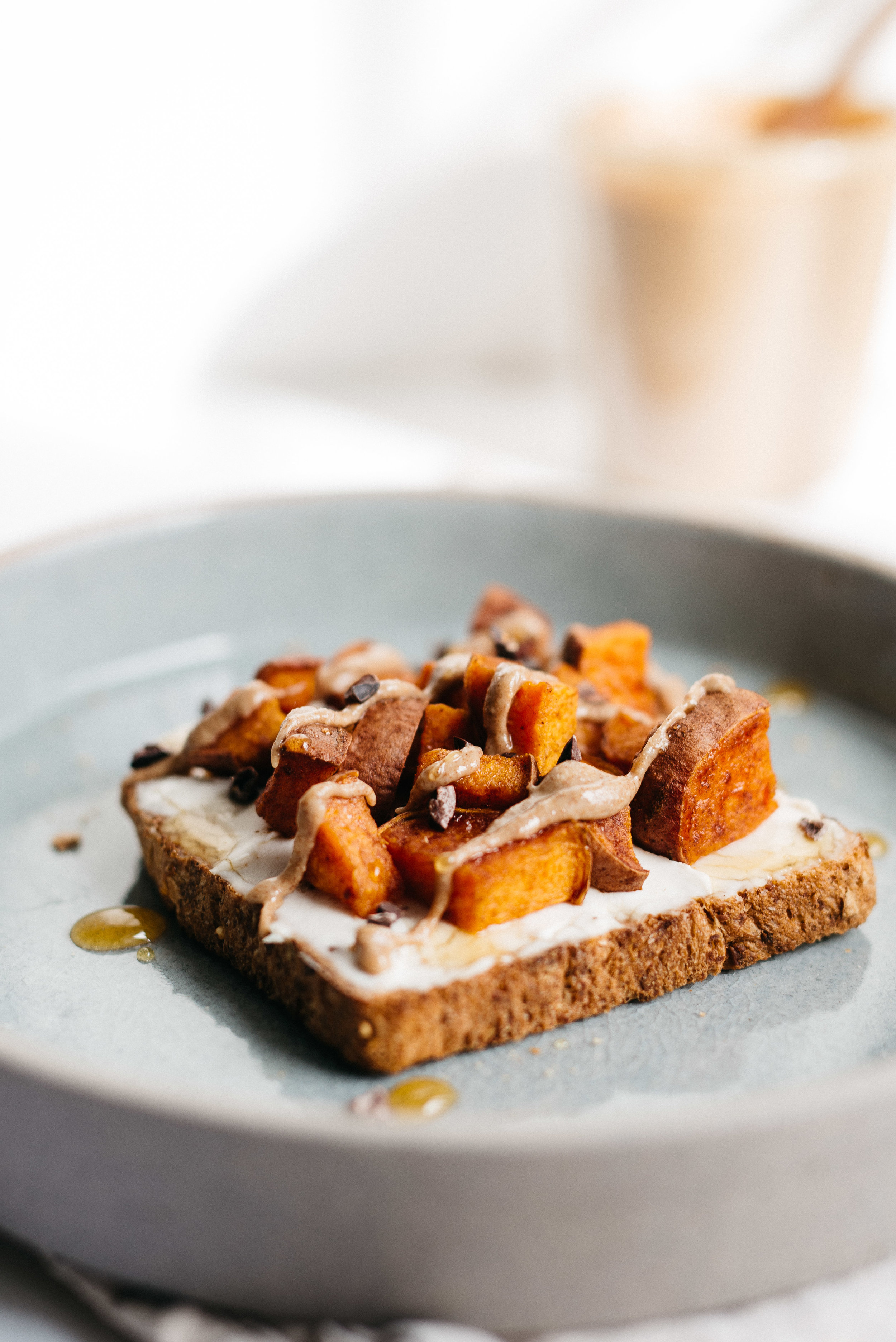 Maca Almond Butter & Sweet Potato Toast | dolly and oatmeal