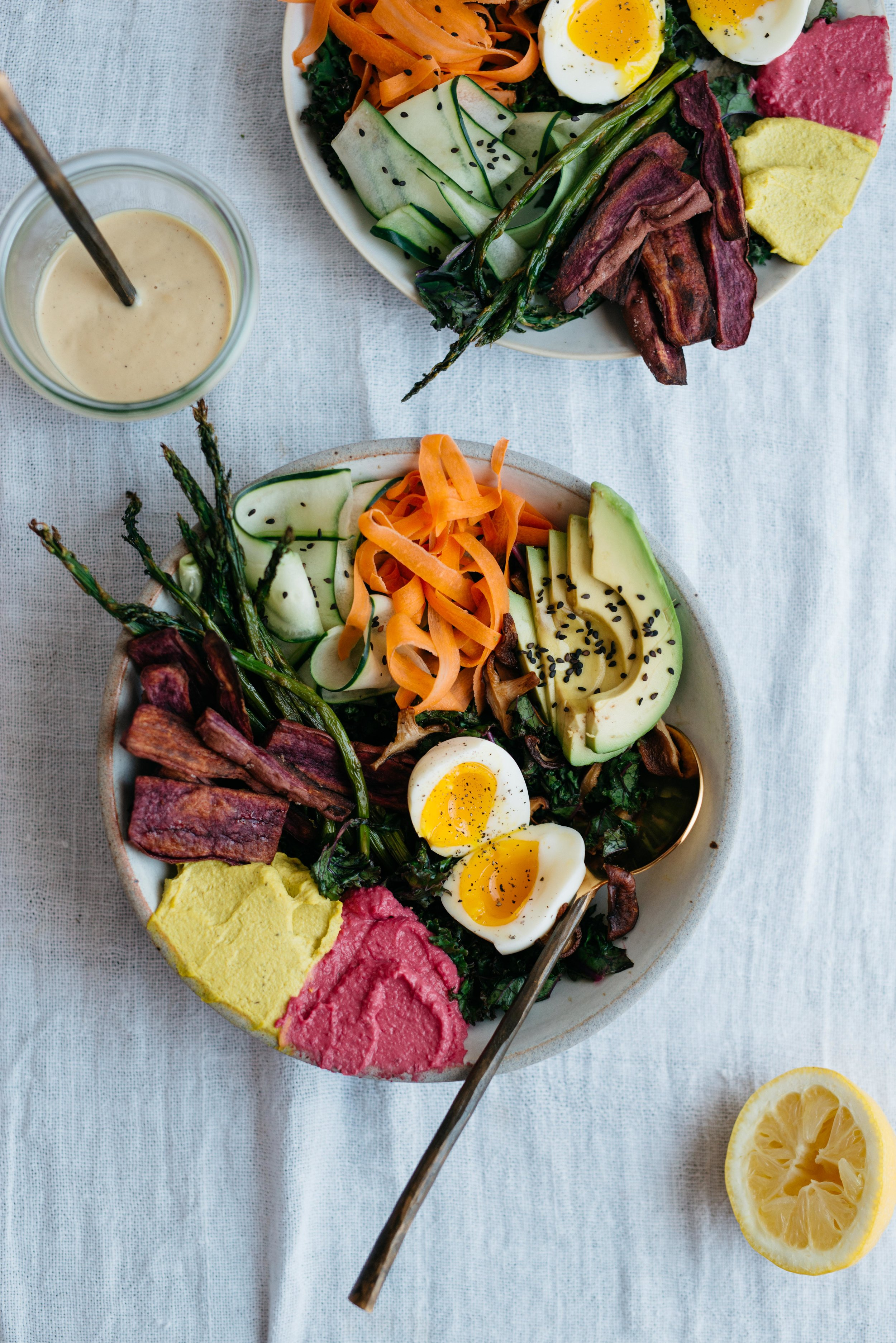 Spring Rainbow Bowl w/ Honey Mustard Tahini | dolly and oatmeal