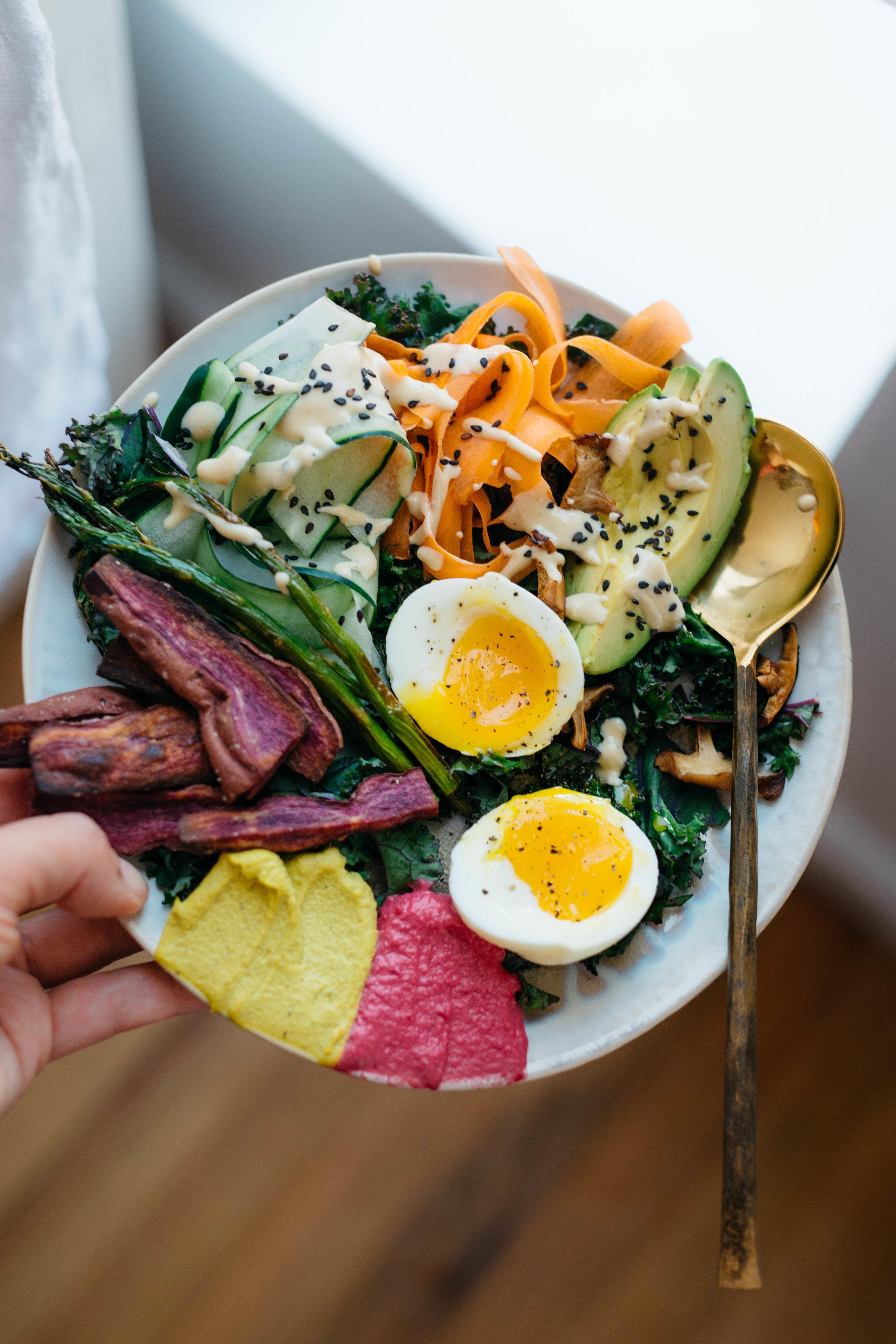 Spring Rainbow Bowl w/ Honey Mustard Tahini   dolly and oatmeal