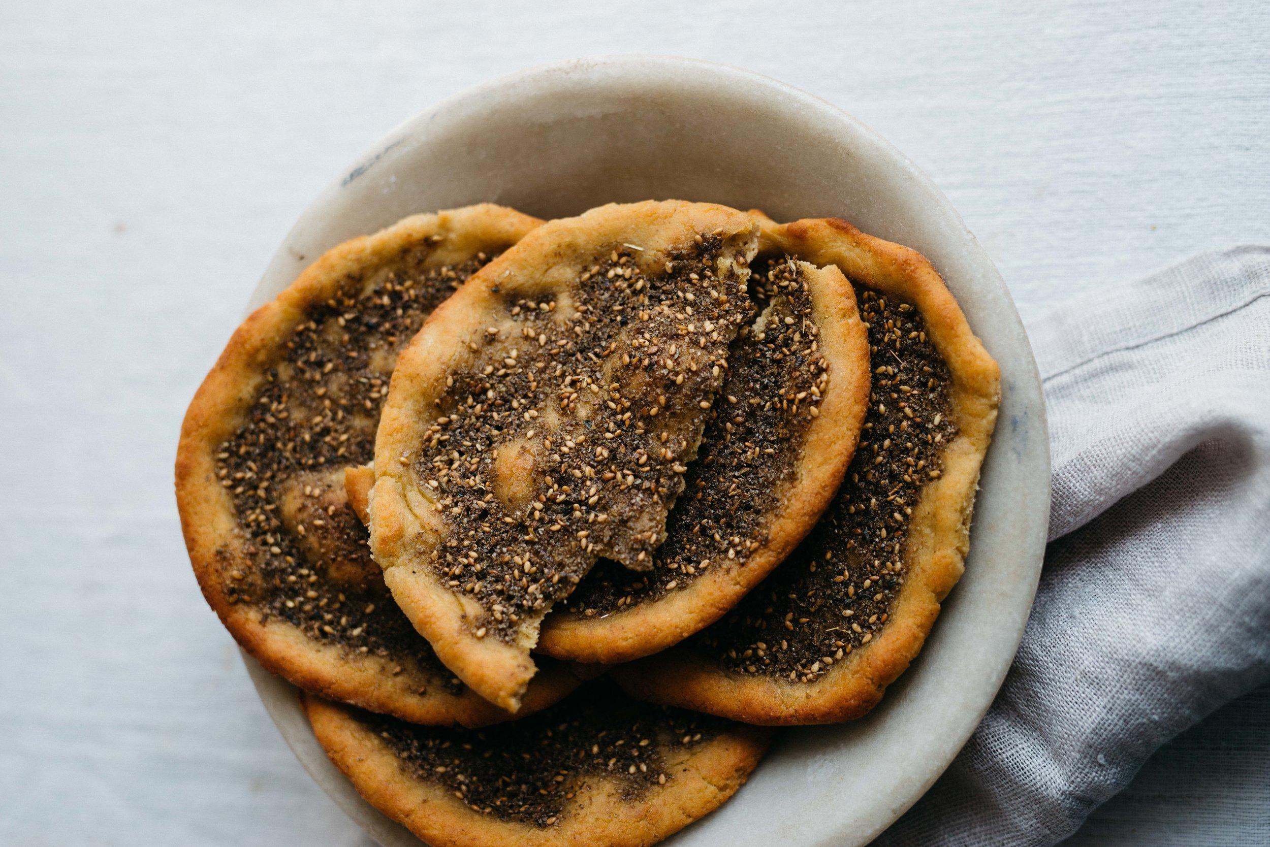 Sunshine Mung Bean Spread w/ Gluten Free Za'tar Flatbread