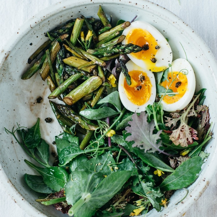 balsamic roasted asparagus salad w/ fried capers & a 7-minute egg