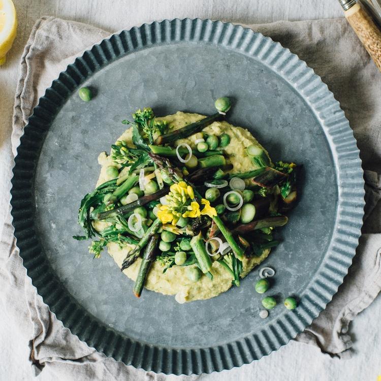 asparagus, pea & broccoli rabe saute over a chive-chickpea mash