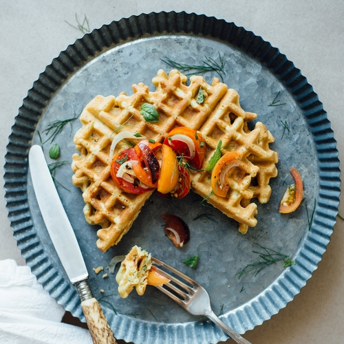 zucchini-basil chickpea waffles w/ tomato & shaved fennel salad