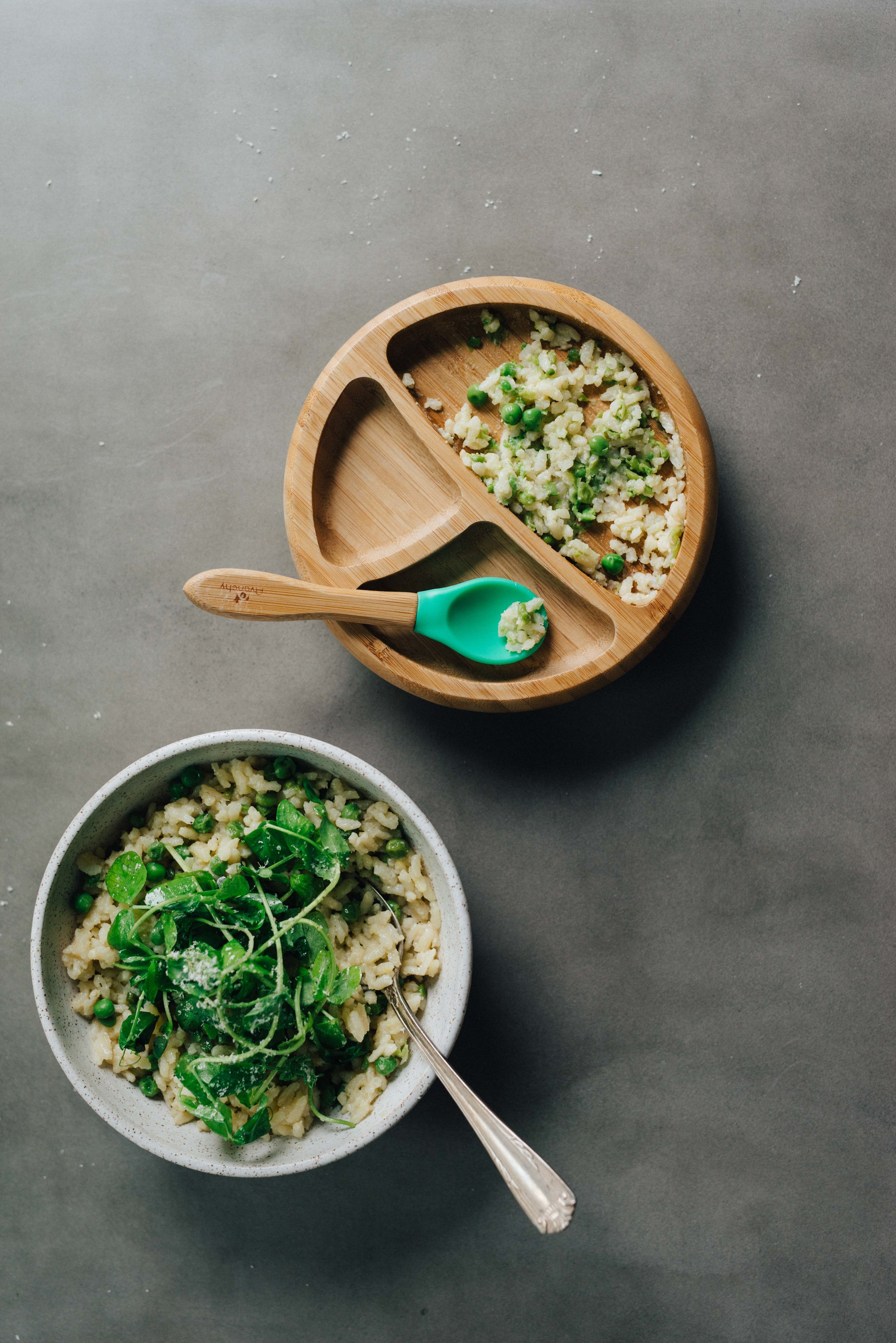Sweet Pea Oven Risotto w/ Garlicky Pea Shoots | dolly and oatmeal