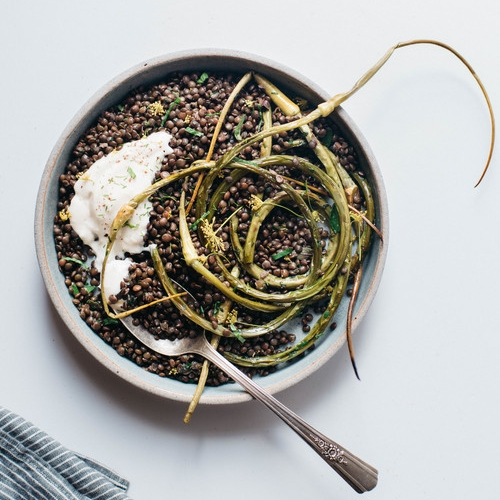 herbed black beluga lentils w/ garlic scapes & yogurt sauce