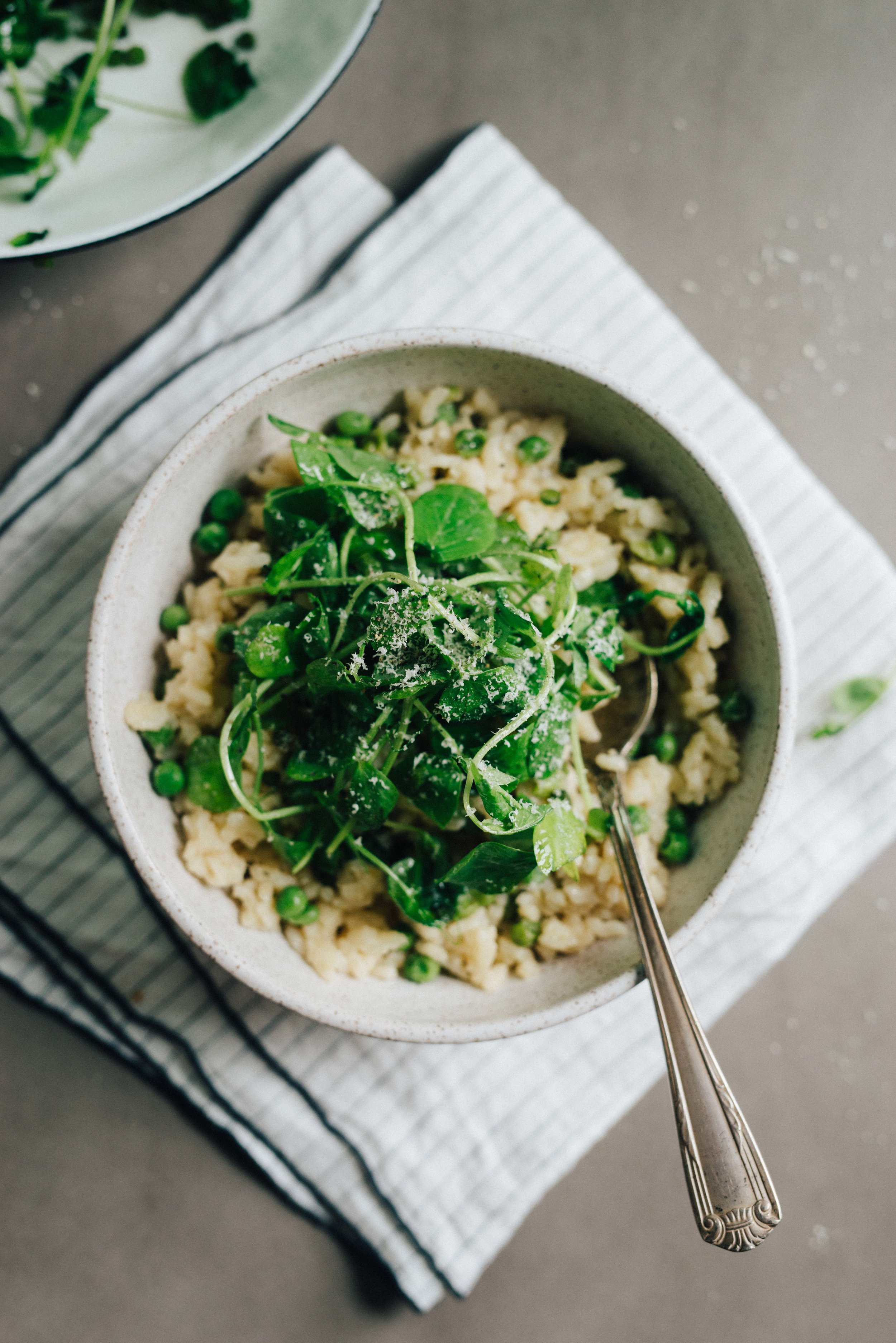 Sweet Pea Oven Risotto w/ Garlicky Pea Shoots
