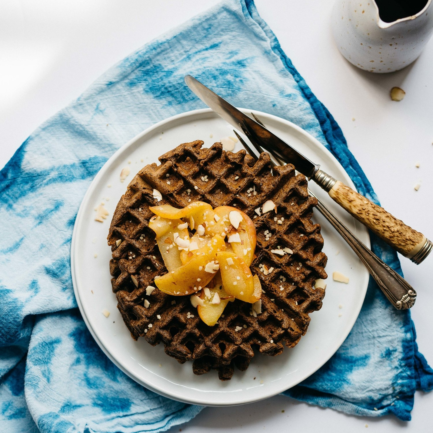 hemp-buckwheat blender waffles w/ spiced apples