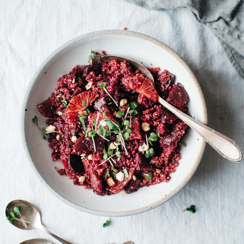pink quinoa salad w/ beets, blood orange & chimichurri