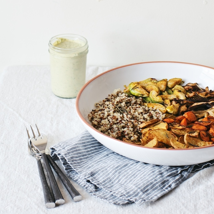 herb-roasted veggie bowl w/ kale-tahini sauce