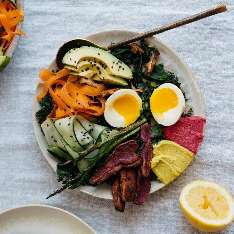 spring rainbow bowl w/ honey-mustard tahini