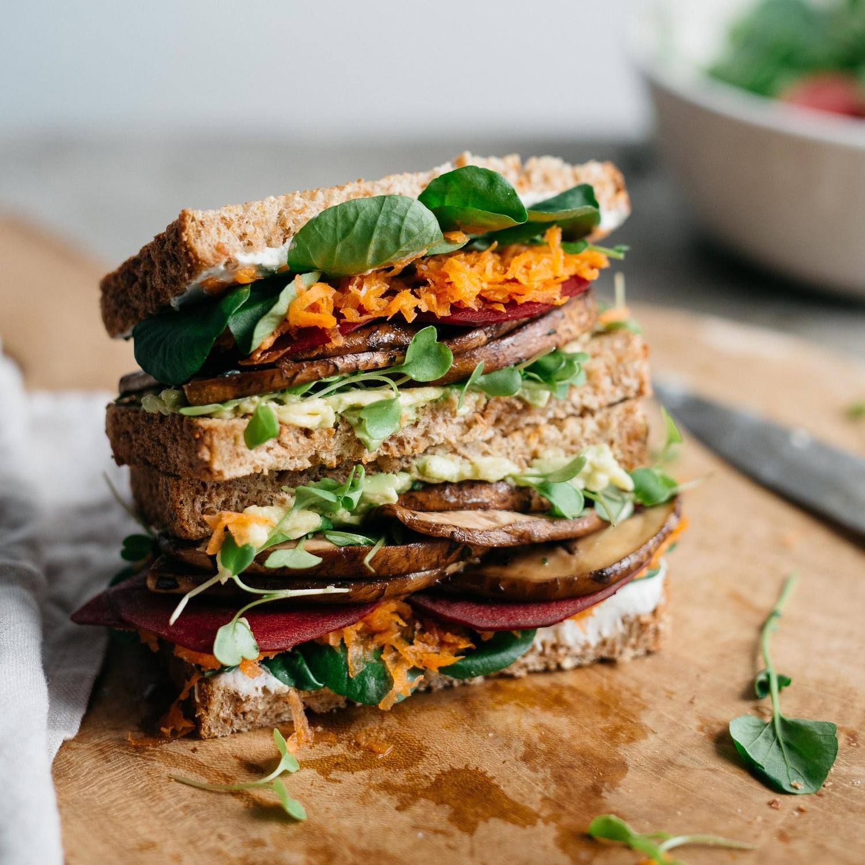 avocado club sandwich w/ marinated portobello mushrooms