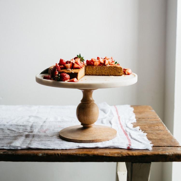 flourless almond cake w/ kombucha macerated berries