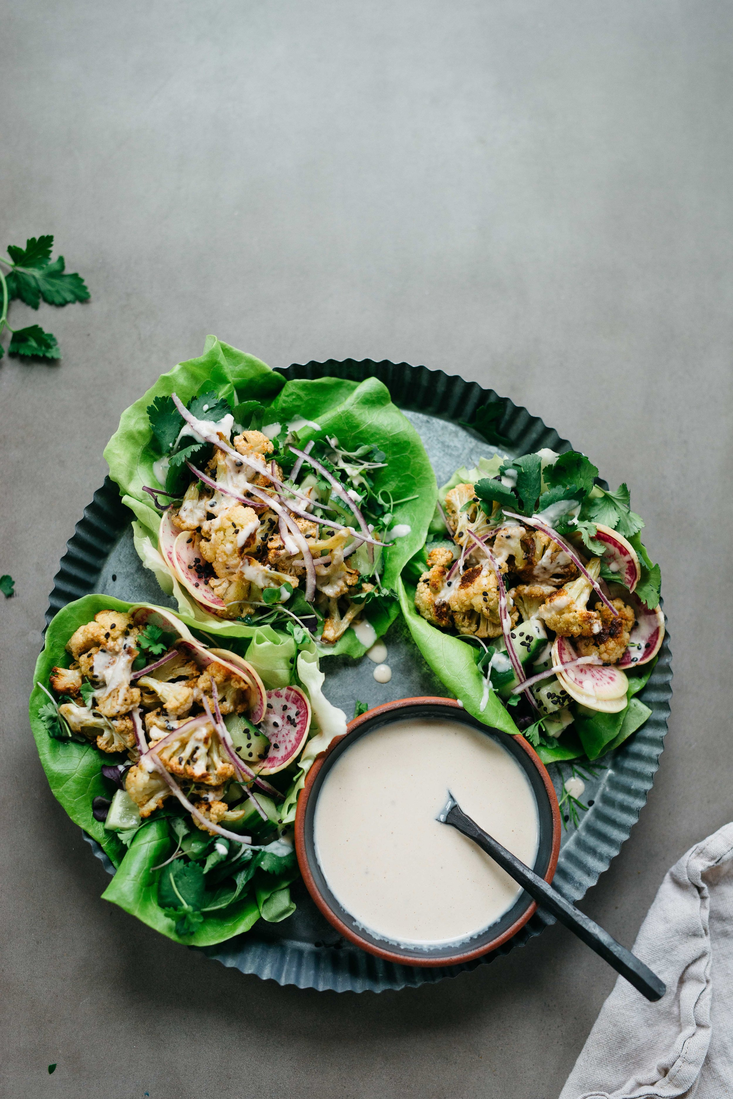 Falafel-Spiced Cauliflower Wraps   Dolly and Oatmeal