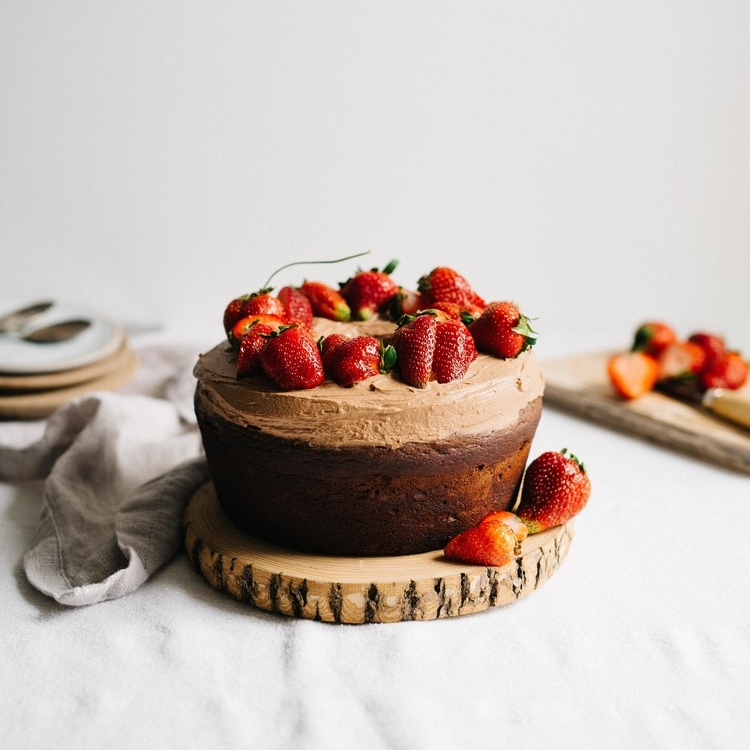 strawberry-rhubarb & olive oil chocolate cake w/ chocolate whip