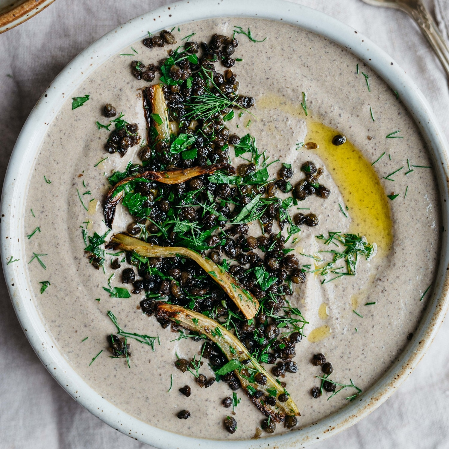 black beluga lentil hummus w/ roasted garlic & fennel