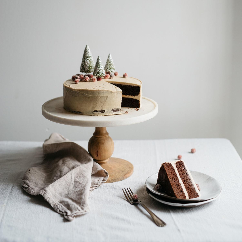 chocolate tahini cake w/ tahini frosting