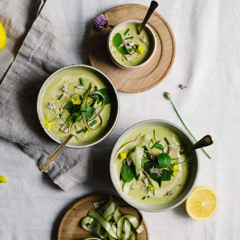 creamy tahini & lemon asparagus soup
