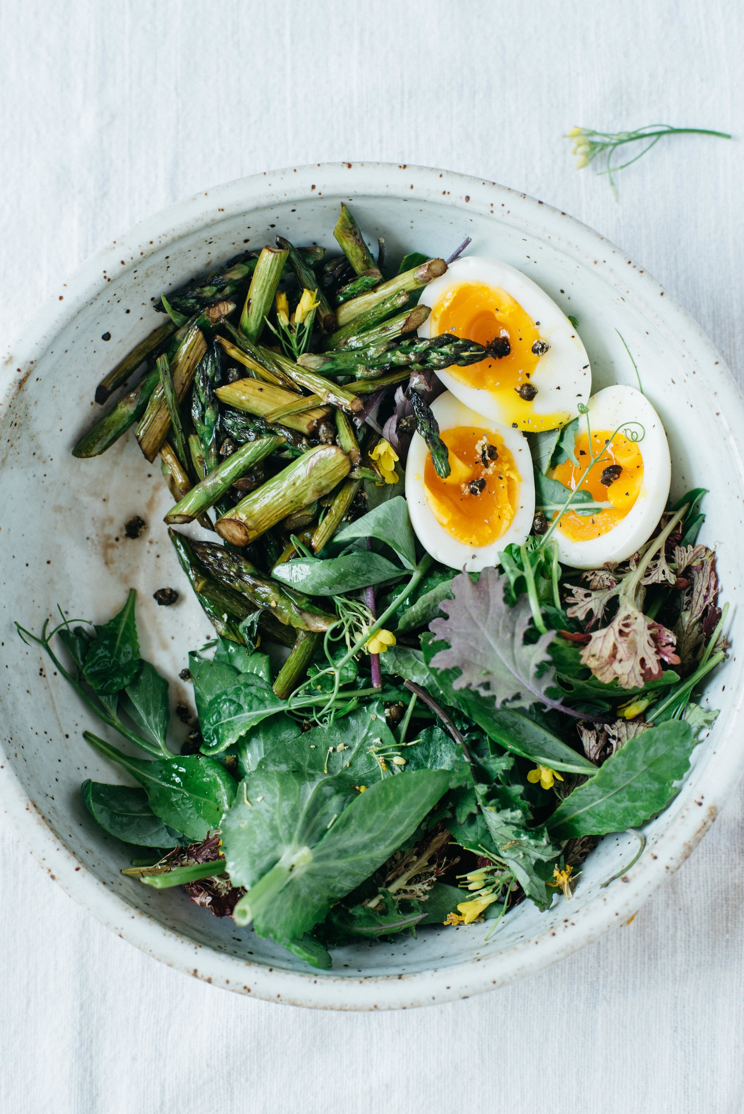 BALSAMIC ROASTED ASPARAGUS W/ FRIED CAPERS & 7-MINUTE EGGS