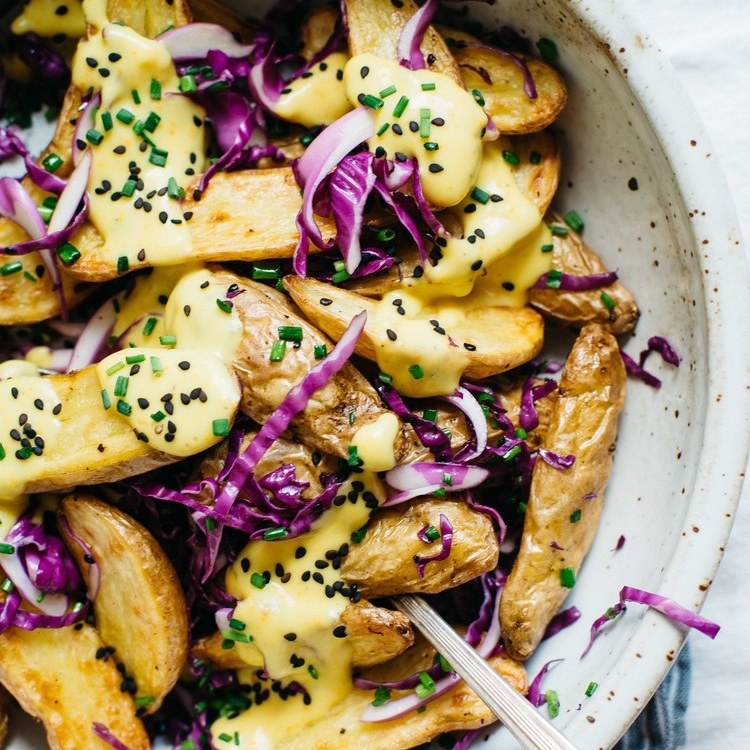 warm fingerling potatoes w/ garlic -turmeric sauce